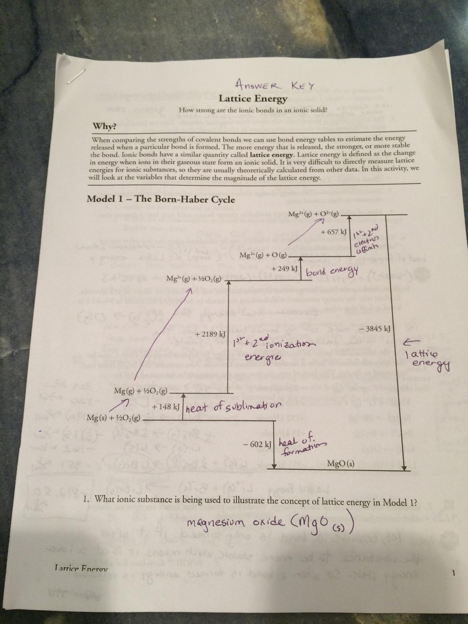Before Class on November 28: Lattice Energy, Bonding, and ...
